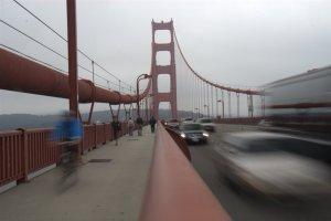 Biking across the GG Bridge was a fun experience. The blue blur is Erin.